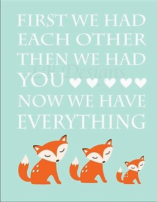 Orange and Aqua Woodland Nursery Print, Fox Nursery Decor 8x10