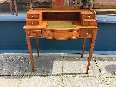'Bevan Funnell Reprodux' Yew wood ladies writing desk / hall desk 7 drawers#1374