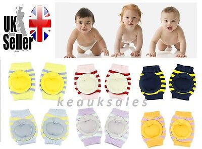 Kids Toddlers Baby Safety Crawling Striped Elbow Knee Pads Cushion Anti-Slip