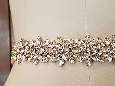 Wedding Bridal Sash Belt, Light ROSE GOLD Crystal Sash Belt = 20 inch long