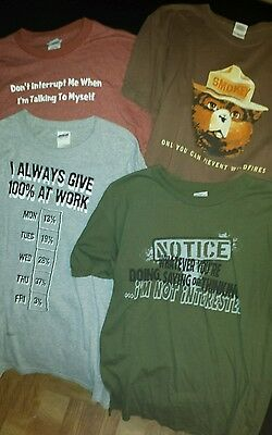 Mens size large funny t-shirts lot of 4. Lot23