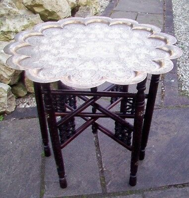 Superb Binares  Antique Inlaid Folding Side Table With Brass Tray