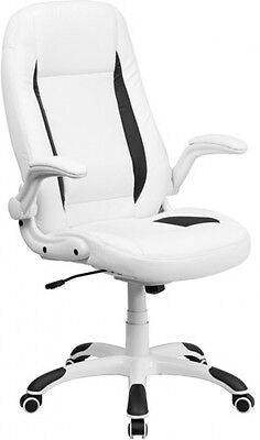 Flash Furniture High Back Leather Executive Office Chair With Flip-Up Arms,