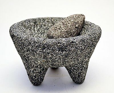 #40 Molcajete Mortar Pestle Stone Mexico Original Lava Rock Ancient Cookware New