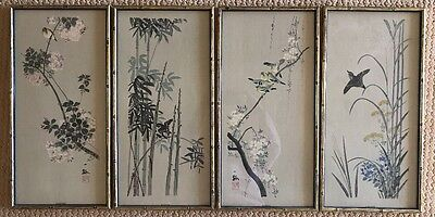 4 Wall Hanging Sign Chinese Oriental Asian Jap Frame Sprg Sumr Autmn Wnter 11x23