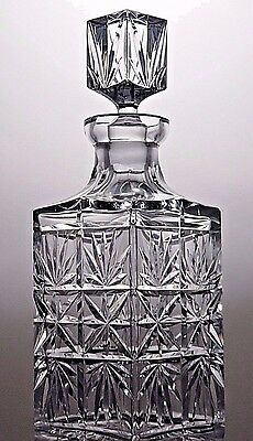 Julia Crystal Cut Glass Decanter Whisky Brandy Whiskey Square Decanter