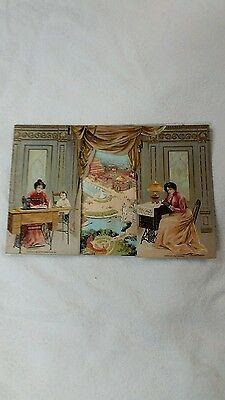 SINGER 1901 PAN AMERICAN EXPO CARD FOLDER SOUVENIR trade card SEWING MACHINES