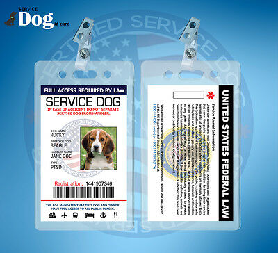 Service Dog Id Card For Service Animal With Clip Holder + Includes Registration