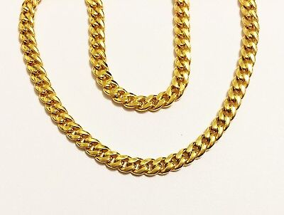 """18k solid yellow gold(3mm)hollow Curb chain(up to 32""""inch)"""