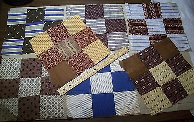 Antique Quilt Blocks Hand sewn 7pc  10""