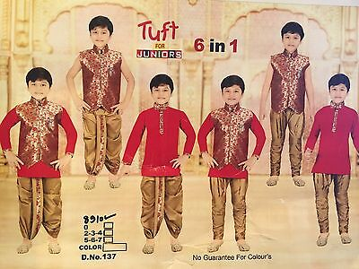 6 Age Size Boys Kurtha Indian Costume Sherwani Bollywood Suit Red Gold 6 In 1