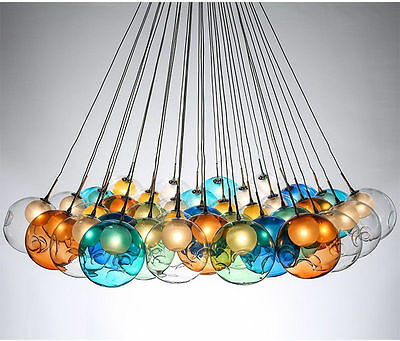 Modern G4 LED Colorful Glass Pendant Light Chandelier Ceiling lamp Fixture New