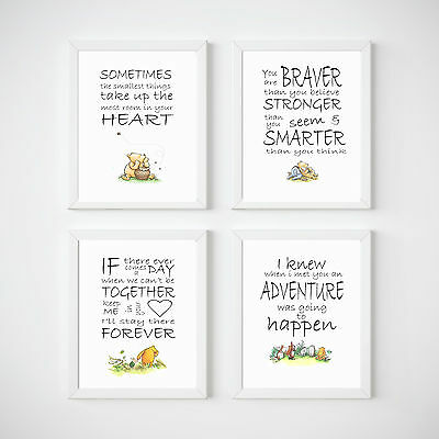 Winnie The Pooh Nursery Prints Wall Art Kids Room Decor, 4 A4 Set