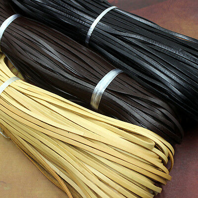 10m Flat Genuine Leather Rope Cord for Bracelet Necklace Strap DIY 3 4 5 8 10mm