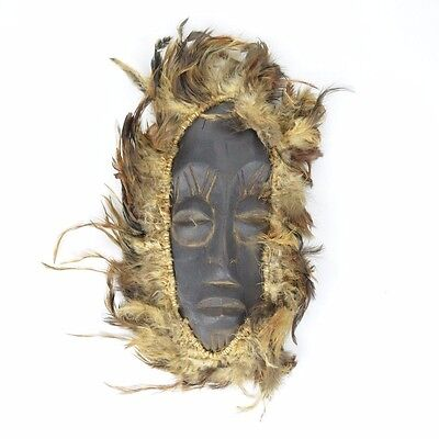 Vintage African Tribal MASK Carved Wood & Feathers