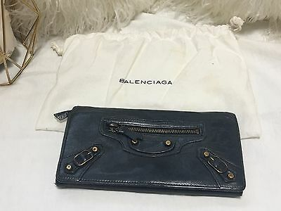 BALENCIAGA Anthracite Gray Wallet with Classic Brass Hardware