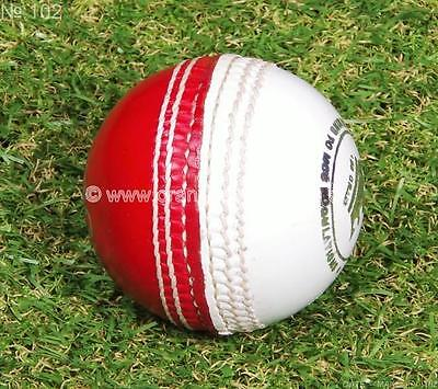 3 x RED + WHITE Bowling TRAINING / Practice  156g Cricket Ball by ORANGE SPORTS