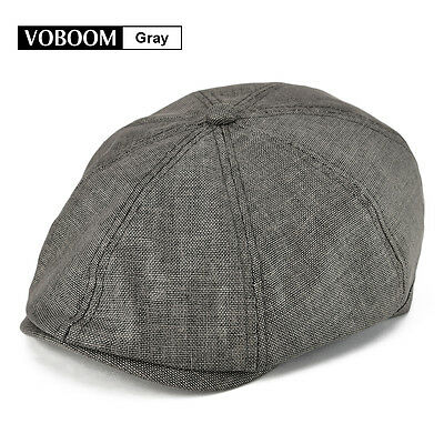 fd54b85827b VOBOOM Men s Linen Gatsby Cap 8 Panel Newsboy Summer Hat Golf Flat Cabbie  Gray