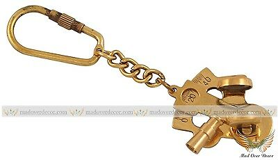Nautical Vintage Brass Keychain Antique Brass Sextant Key Ring marine Gift