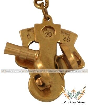 Nautical Vintage Brass Sextant Keychain Antique Brass Key Ring