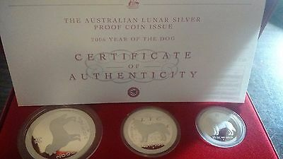 2006 Australia Year of the Dog Lunar 3 Coin Set Silver Proof Series *RARE*
