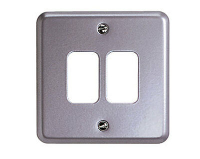 MK Grid Plus K3492ALM Metalclad 2 Gang Switch Plate