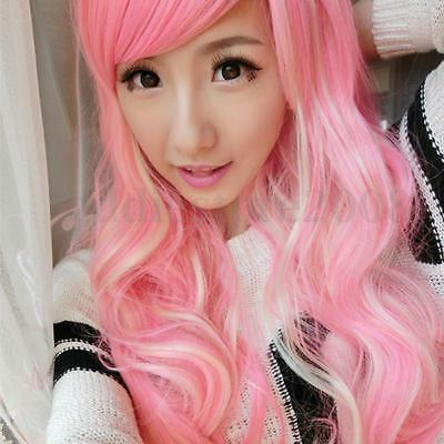 Long Curly Wavy Pastel Light Pink Ombre Curly Wavy Wig Full Kylie Jenner Style