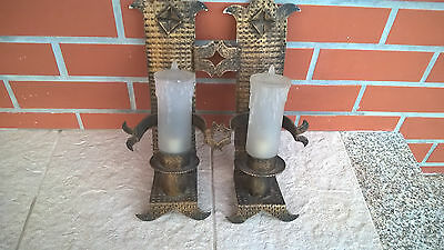 Vintage 1950 Old Church Light Wall Sconces Lamp Cast Iron & Big candles of glass