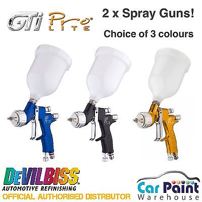 DeVilbiss GTi PRO LITE x 2 Spray Guns Deal *Clear AND Base*
