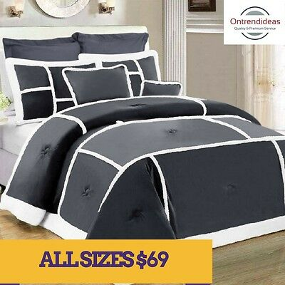 7 Piece Soho Sherpa Fleece Comforter Set | Winter Warmth | 5 Colours | Bed Set