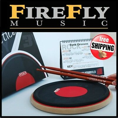 "Premium 11"" Drum Practice Pad & Rosewood Sticks Black & Red Dual Zone Raised Rim"