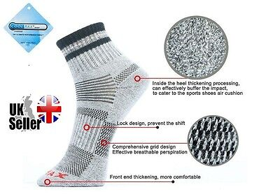 Pair Mens COOLMAX Running Trainer Cycling Gym Socks Grey Black Size 6-10