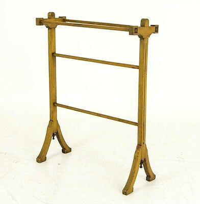 B499 Antique Scottish Inlaid Wooden Arts and Crafts Quilt Rack, Towel Rail