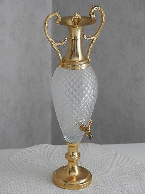 RARE Vintage French CRYSTAL GLASS & GILDED METAL ABSINTHE FOUNTAIN ROCOCO STYLE