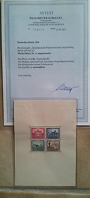 Briefmarken Deutsches Reich Block 1 mit Attest Schlegel
