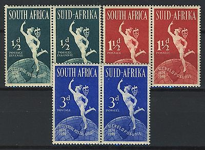 South Africa 1949 UPU issue Pairs, Full set MNH