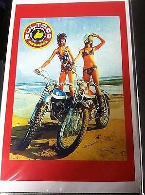 Vintage Bultaco Motorcycle Poster
