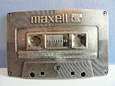Vintage 1983 Maxell Ud Xl Heavy Pewter Belt Buckle, Indiana Metal Craft, Exc+