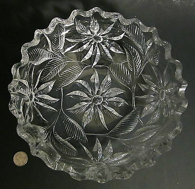 "RARE Old AMERICAN BRILLIANT Heavy Well Cut Glass POINSETTIA 10"" Bowl ABP TUTHILL"