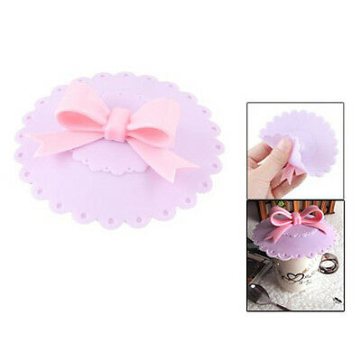 Pink Silicone Bowknot Knob Purple Watertight Cup Cap Cover Lid K9P4