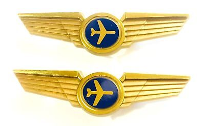 2 Jet Airplane Gold Pilot Wing Pins New ✈️✈️