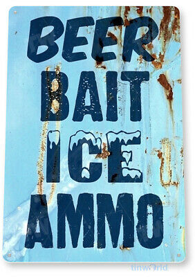TIN SIGN Beer Bait Ice Lodge Cottage Fishing Beer Metal Sign Decor B266
