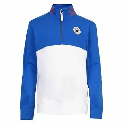 Designer Converse 'All Star' boys half zip sweat top Blue/White WAS £44 NOW £22