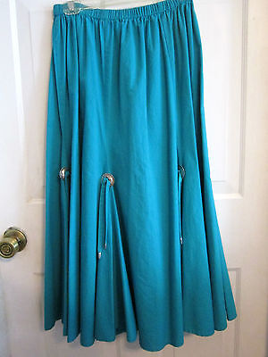 Roper Turquoise Blue Western Full Dance Skirt-Large-100% Cotton-6 Silver Conchos