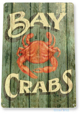 TIN SIGN: PGB296 Crabs Tin Metal Sign Crab Shack Seafood Marina Food Decor
