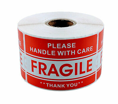 "1 Roll 2"" x 3"" FRAGILE HANDLE WITH CARE Stickers (500 per roll)"
