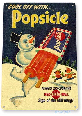 TIN SIGN B442 Popsicle Snow Man Ice Cream Rustic Retro Ice Popsicle Sign Decor