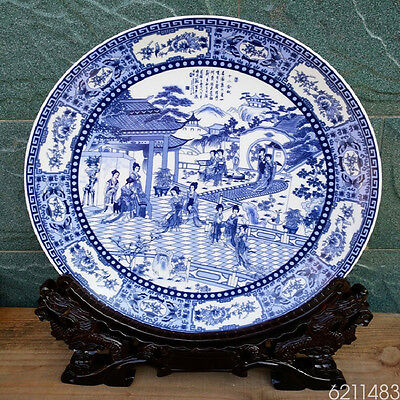 Chinese Blue and white Porcelain painted Twelve Beauty Plate w Qianlong Mark