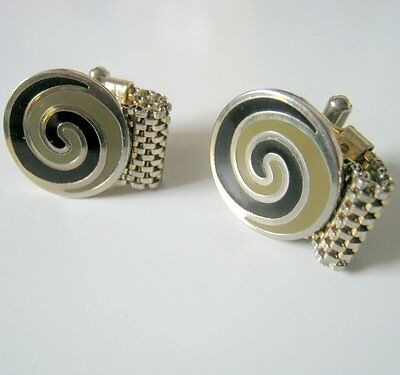 Silver and Gold Tone Black and Green Swirl Wrap Around Vintage Cufflinks