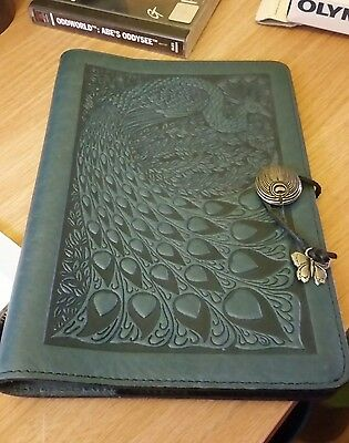"Stunning Oberon Designs Thick Teal Leather Journal Cover Peacock Design 9"" X 6.5"